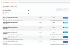 download MySQL connector python for windows