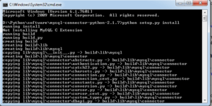 python MySQL connector python installation completed for windows