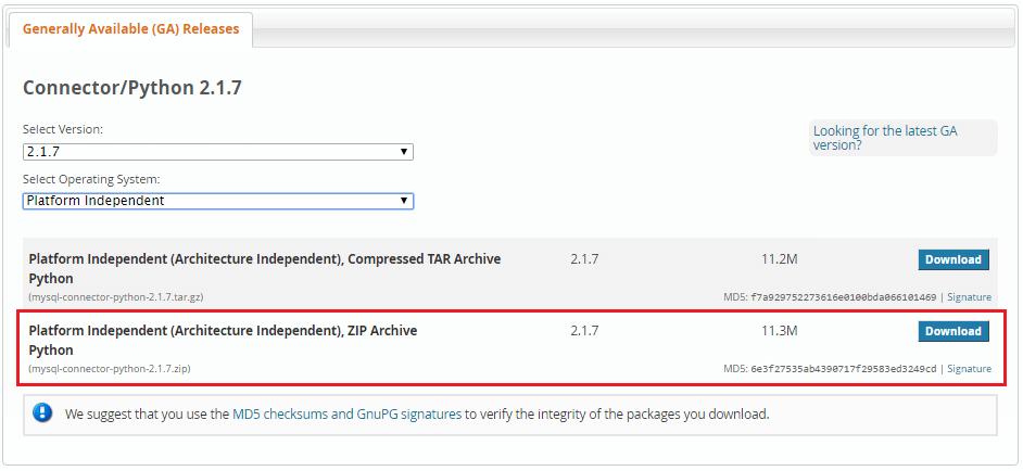 select MySQL connector python platform independent zip for windows