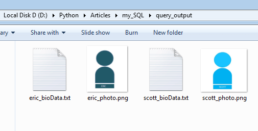 image and file stored on disk after reading BLOB data from mysql