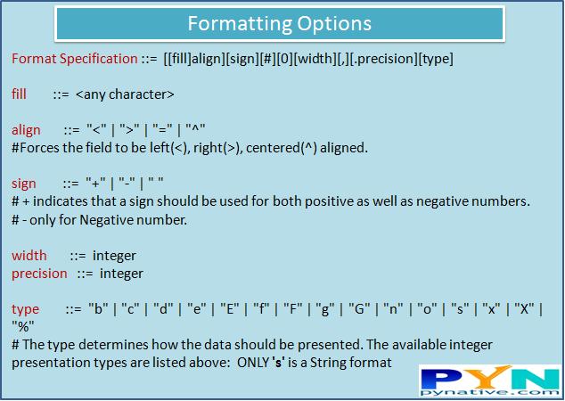 python output formatting options