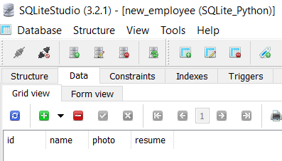 new_developers table to insert blob data
