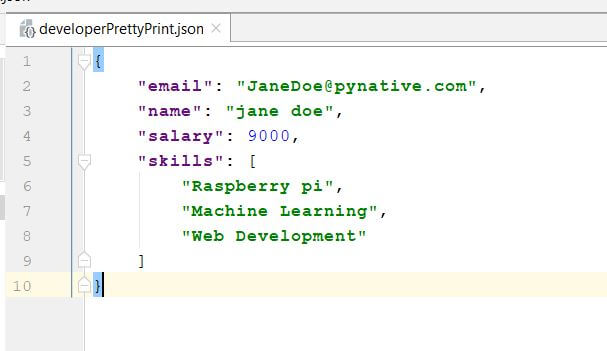 File after writing prettyprinted JSON data