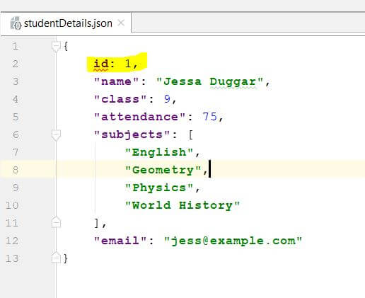 JSON file to be validated