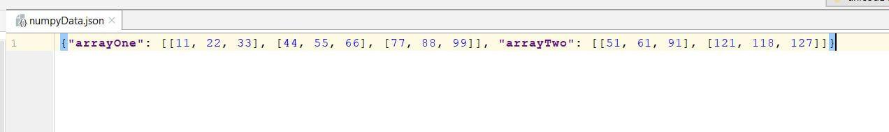 JSON serialized numpy array file