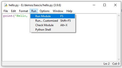 Run Python script in IDLE